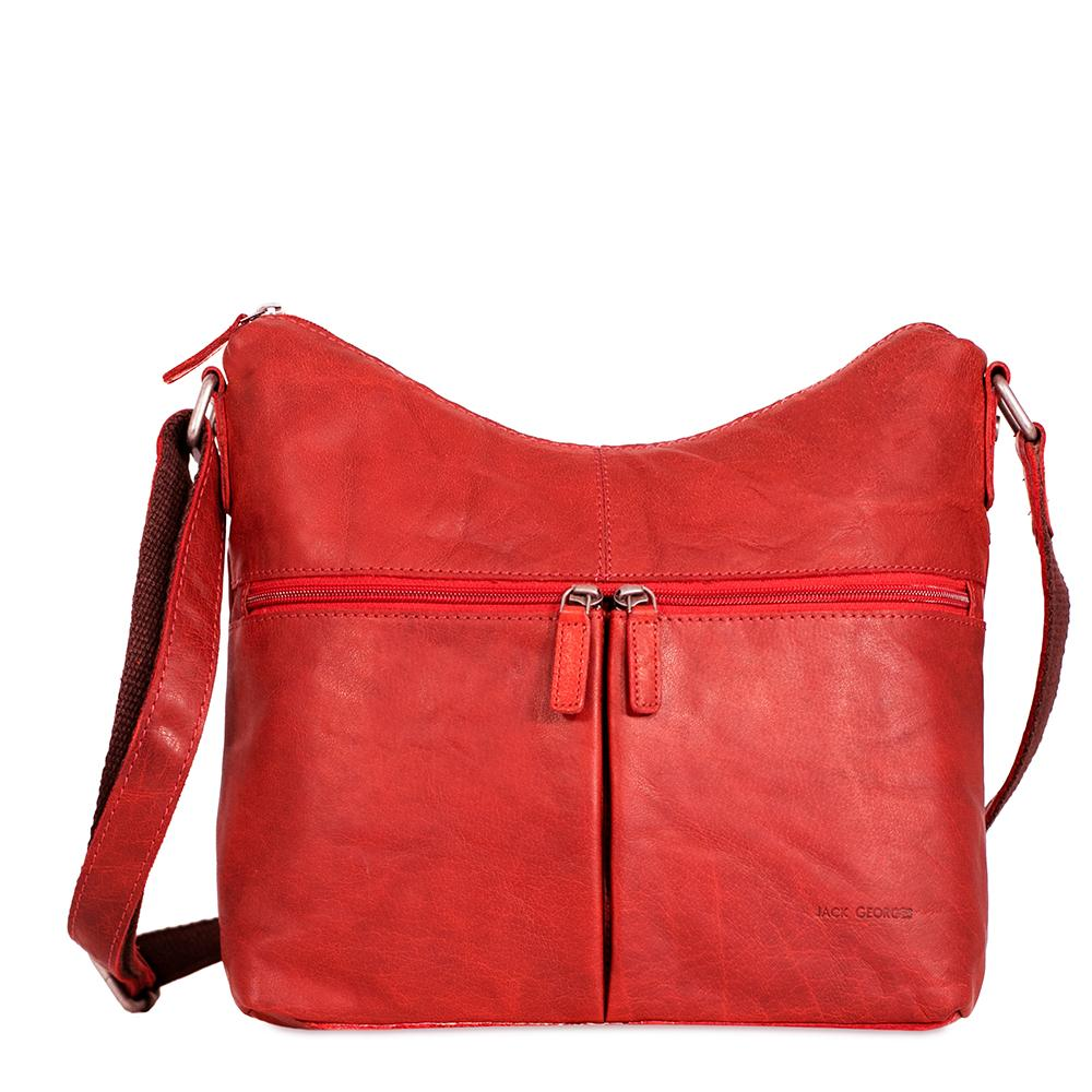 Jack Georges Voyager Uptown Red Leather Hobo Bag #7814