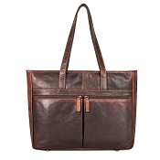 Jack Georges Voyager Uptown Tote Bag #7916 - Brown Leather