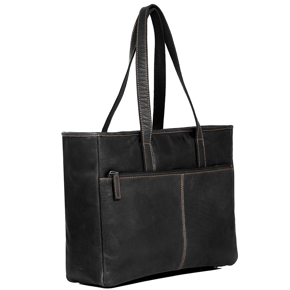 Jack Georges Voyager Leather Black Business Tote Bag #7917