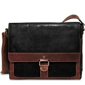 Jack Georges Voyager Two-Tone Leather Slim Messenger Bag #TT7314