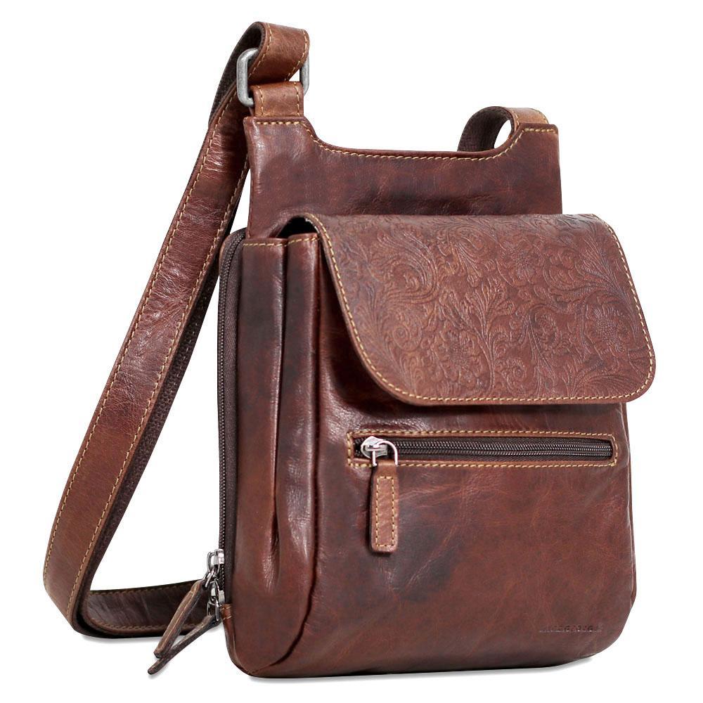 Jack Georges Voyager Fl Leather Slim Crossbody Messenger Bag Fl831