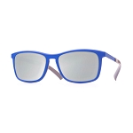 Helios 04480S Cal.55 Rectangle Blue Sunglasses - Silver Lens