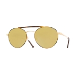 Helios 10675S Cal.53 Pilot Gold & Havana Circles Sunglasses -  Mirrored Gold Lens