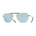 Helios 10676S Cal.55 Pilot Rectangular Gold & Black Sunglasses -  Mirrored Blue Lens