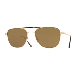 Helios 10676S Cal.55 Pilot Rectangular Gold & Havana Sunglasses -  Brown Lens