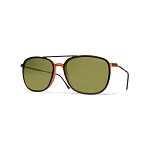 Helios 04935S Cal.54 Brown/Caramel Square Sunglasses - Green Lens