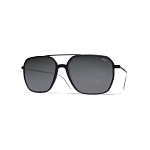 Helios 04936S Cal.57 Black Rectangle Sunglasses - Grey Lens