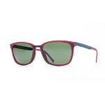 Helios 10590S Cal.54 Rectangular Brushed Cherry Sunglasses - Green Lens
