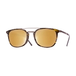 Helios 10591S Cal.52 Oval Brown Horn Sunglasses - Mirrored Gold Lens