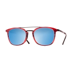 Helios 10591S Cal.52 Oval Striped Coral Sunglasses - Mirrored Blue Lens