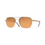 Helios 10633S Cal.55 Rectangular Sunglasses - Gold Metal - Brown Lens
