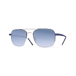 Helios 10633S Cal.55 Rectangular Sunglasses - Steel Metal - Blue Lens