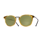 Helios 10671S Cal.50 Rectangular Light Brown Havana Sunglasses - Green Lens