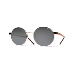 Helios 10634S Cal.52 Women's Gold & White Round Sunglasses - Grey Lens