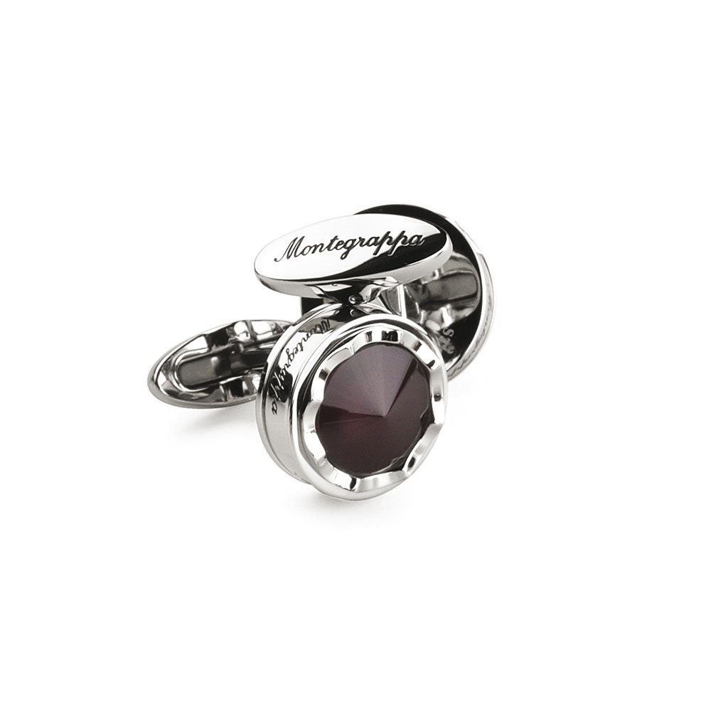 Montegrappa Parola Cufflinks - Stainless Steel with Mauve Glass Top