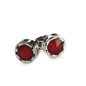 Montegrappa Parola Cufflinks - Stainless Steel with Red Glass Top
