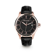 Montegrappa Fortuna Rose Gold PVD Watch - Black Dial - IDFOWARC