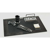 Paolo Guzzetta Deluxe Leather Desk Set - Black Metallic Crocodile