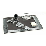 Paolo Guzzetta Deluxe Leather Desk Set - Silver Metallic Crocodile