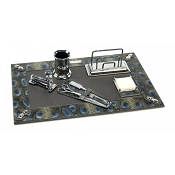 Paolo Guzzetta Deluxe Leather Desk Set - Camouflage Python
