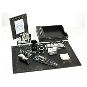 Paolo Guzzetta Premier Leather Desk Set - Black Metallic Crocodile