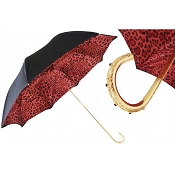 Pasotti Red Leopard Print Black Animalier Women's Umbrella