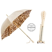 Pasotti Cream White Leopard Print Animalier Women's Umbrella