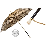 Pasotti Tiger Striped Animalier Women's Umbrella - Swarovski® Handle