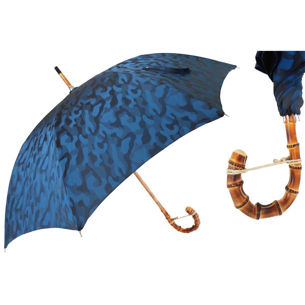 Pasotti Ombrelli Navy Blue Camouflage Men's Umbrella - Bamboo Handle