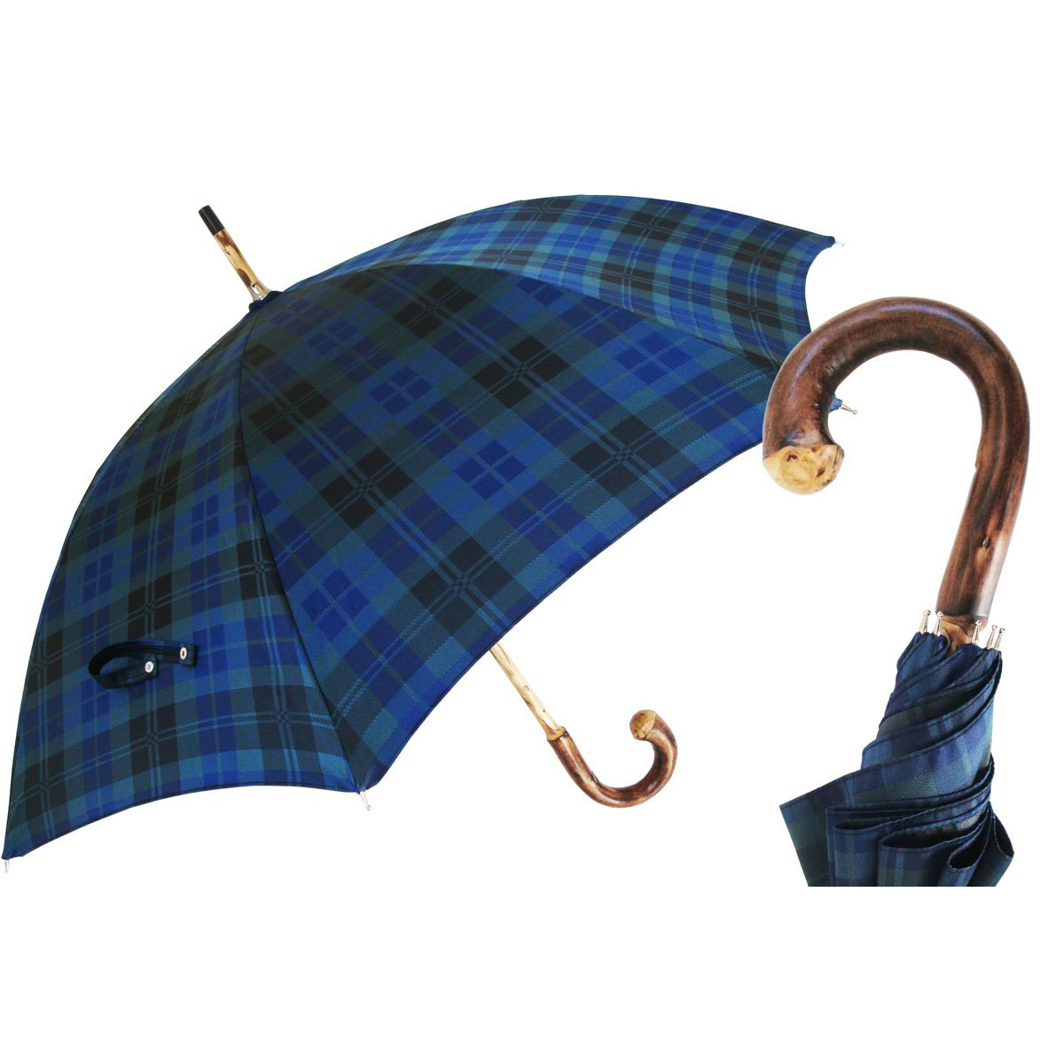 Pasotti Ombrelli Blue Tartan Solid Stick Chestnut Men's Umbrella