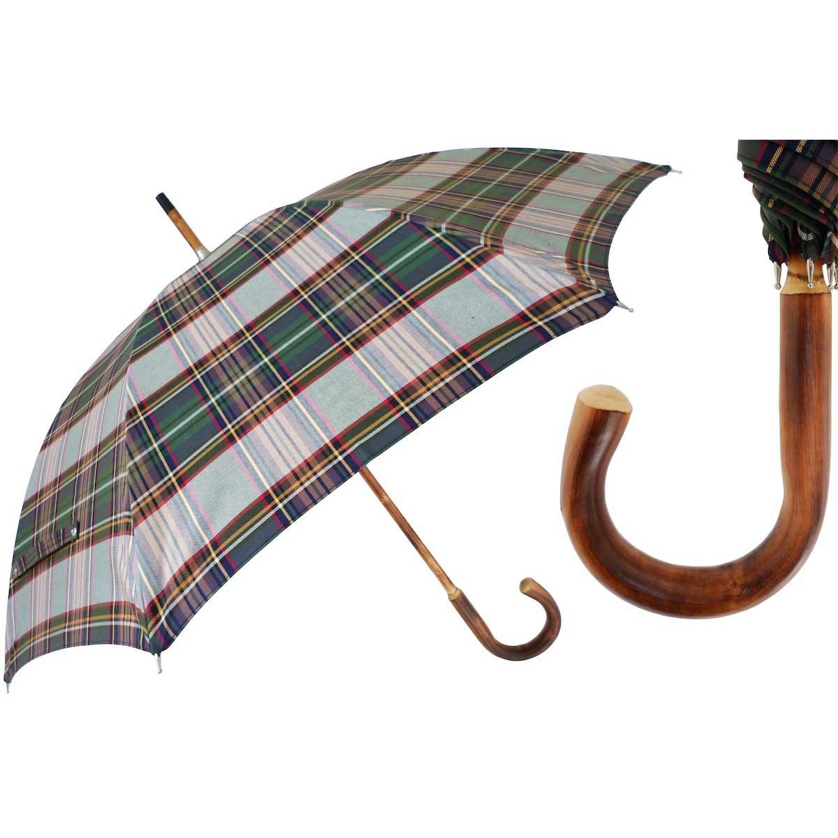 3626997bf Men's handmade plaid umbrella with solid one-piece chestnut shaft-handle.
