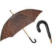 Pasotti Ombrelli Brown Camouflage Men's Umbrella - Leather Handle