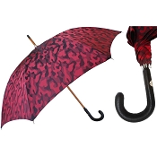 Pasotti Ombrelli Artisanal Red Camouflage Men's Umbrella - Leather Handle
