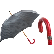 Pasotti Men's Bespoke Gentlemen Gray Umbrella - Red Leather Handle
