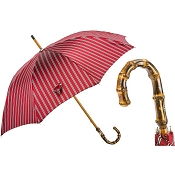Pasotti Men's Bespoke Classic Red Striped Umbrella - Bamboo Handle