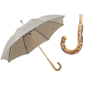 Pasotti Ombrelli Pied de Poule Men's Umbrella - Broom Wood Handle