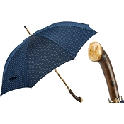 Pasotti Ombrelli Dark Blue Dotted Best Handmade Men's Umbrella