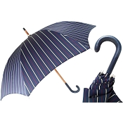 Pasotti Ombrelli Blue Striped Bespoke Men's Umbrella - Navy Leather Handle