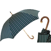Pasotti Ombrelli Green Striped Solid Chestnut Men's Umbrella