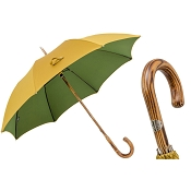 Pasotti Men's Bespoke Mustard & Green Bicolor Hickory Umbrella