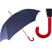 Pasotti Men's Bespoke Navy Blue with Red Dots Umbrella - Red Leather Handle