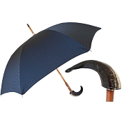 Pasotti Ombrelli Blue Pin Dot Men's Umbrella - Mouflon Handle