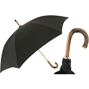 Pasotti Ombrelli Black Elegant Men's Umbrella - Solid Stick Ash Handle