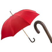 Pasotti Ombrelli Red Gent's Men's Umbrella - Braided Leather Handle