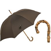 Pasotti Men's Bespoke Oxford Brown Umbrella with Bamboo Handle