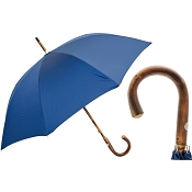 Pasotti Men's Bespoke Solid Chestnut Stick Oxford Blue Umbrella