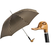 Pasotti Men's Bespoke Hand Carved Duck Brown Pinstripe Umbrella