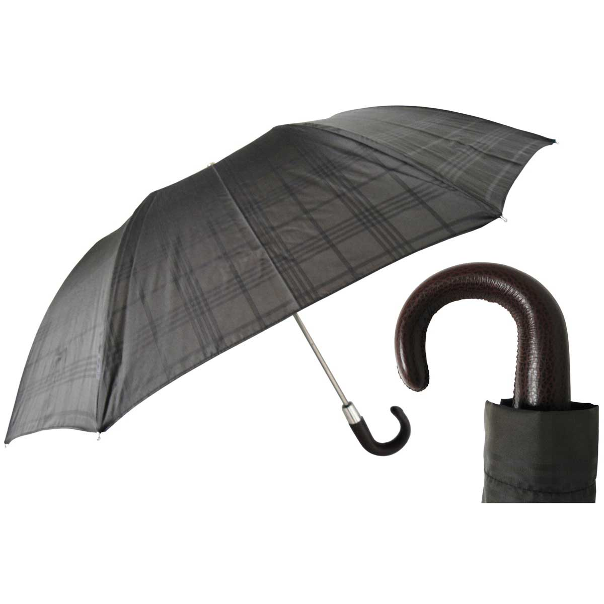 Pasotti Grey Check Men's Folding Umbrella - Brown Leather Handle