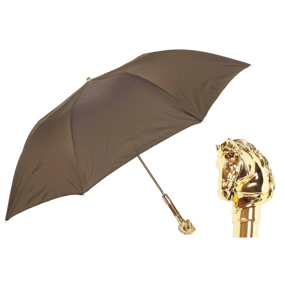 Pasotti Brown Men's Folding Umbrella - Golden Horse Handle