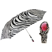 Pasotti Zebra Print Luxury Men's Folding Umbrella - Red Gem Handle